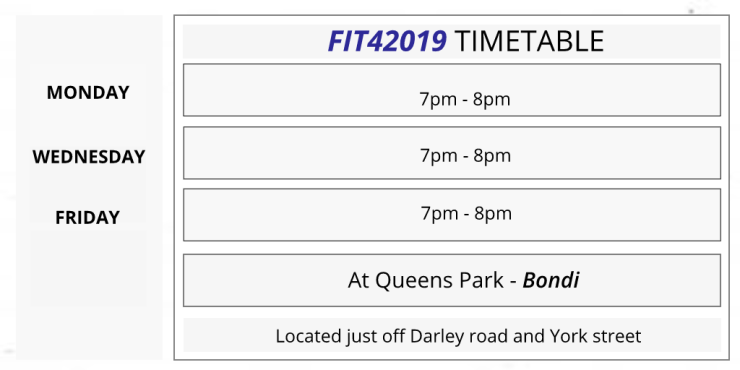 FIT42019 timetable